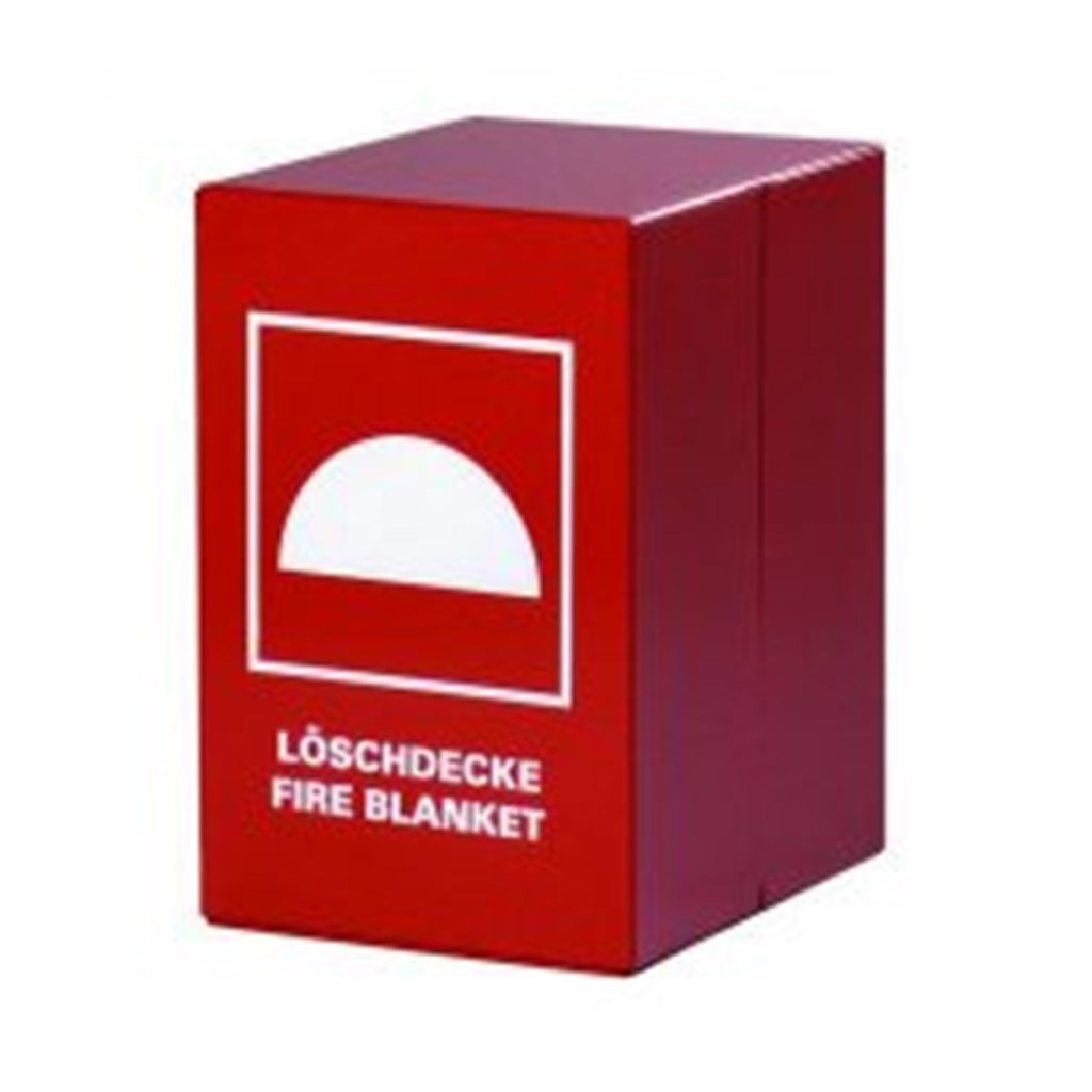 Fire blanket container steel, red, with screenprin