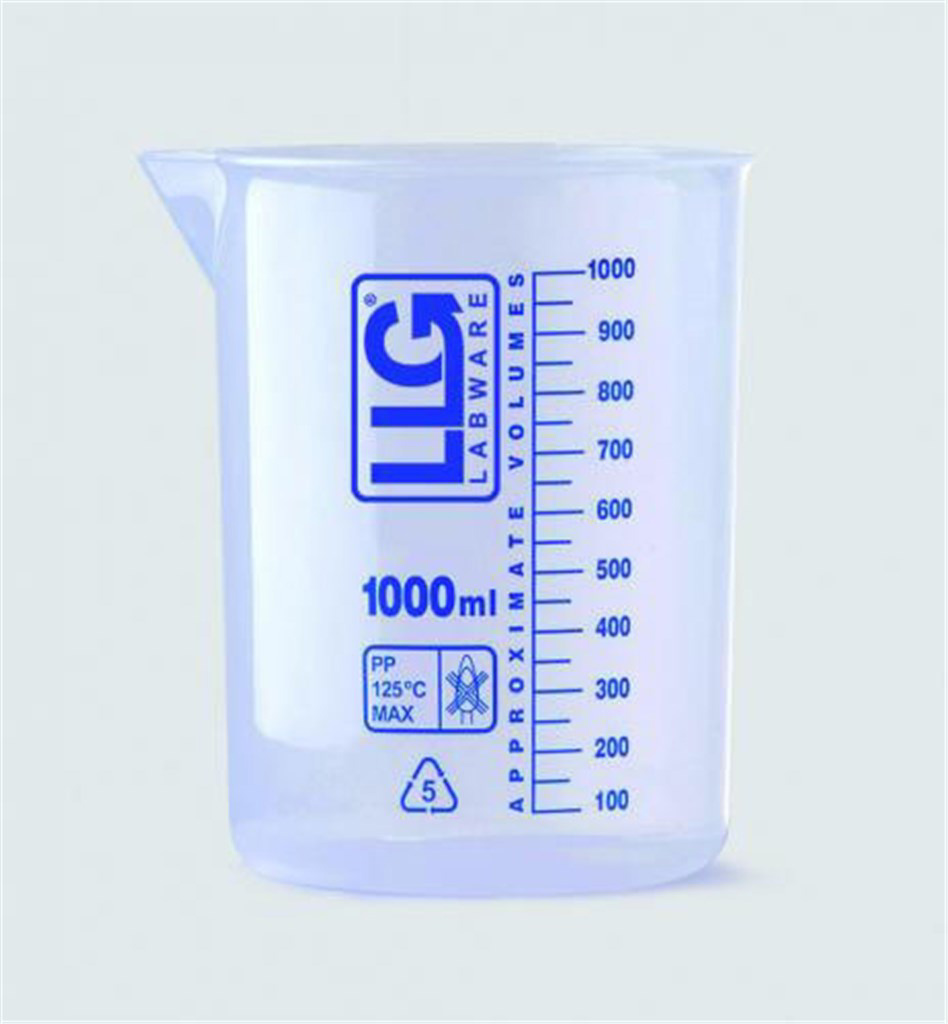 LLG beaker, PP, blue scale, 100 ml