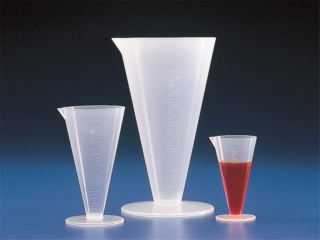 Measures, PP, conical form, gr aduated, Capacity 1