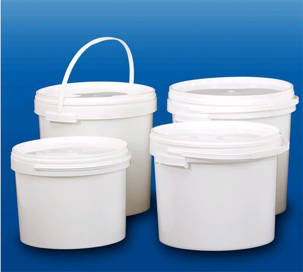 LLG Bucket, white, PP, with lid, 5 L