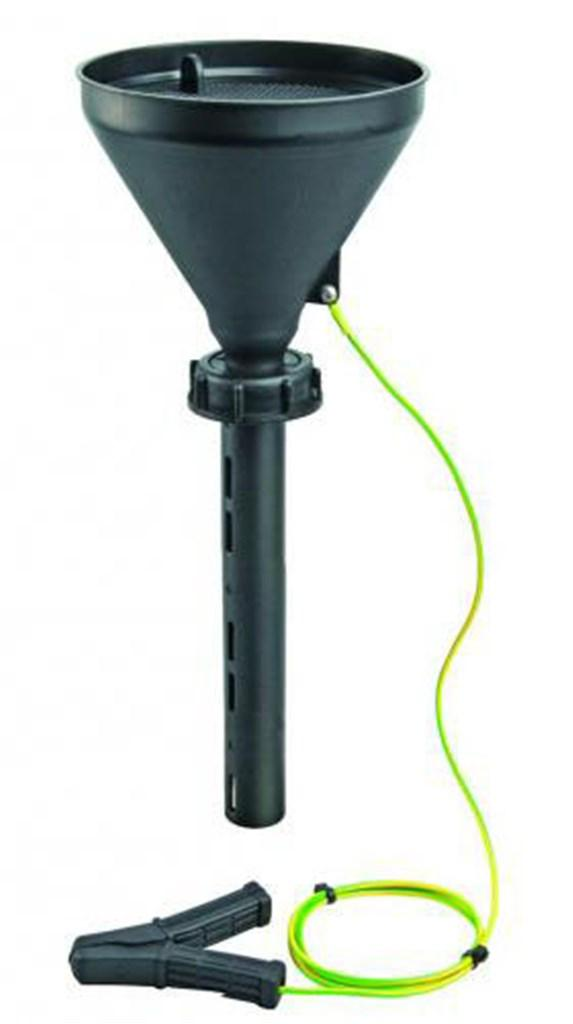 Safety funnel S55 with lid, black, PE-HD, conducti