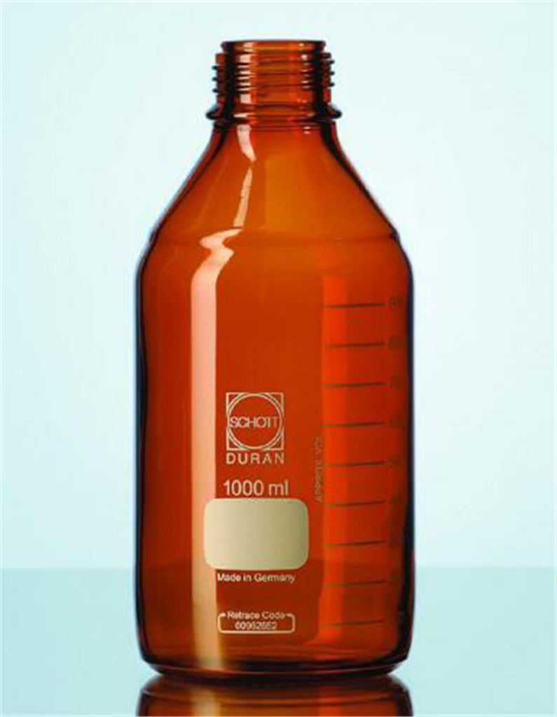 Laboratory bottle 150 ml, amber, GL45, w/o cap