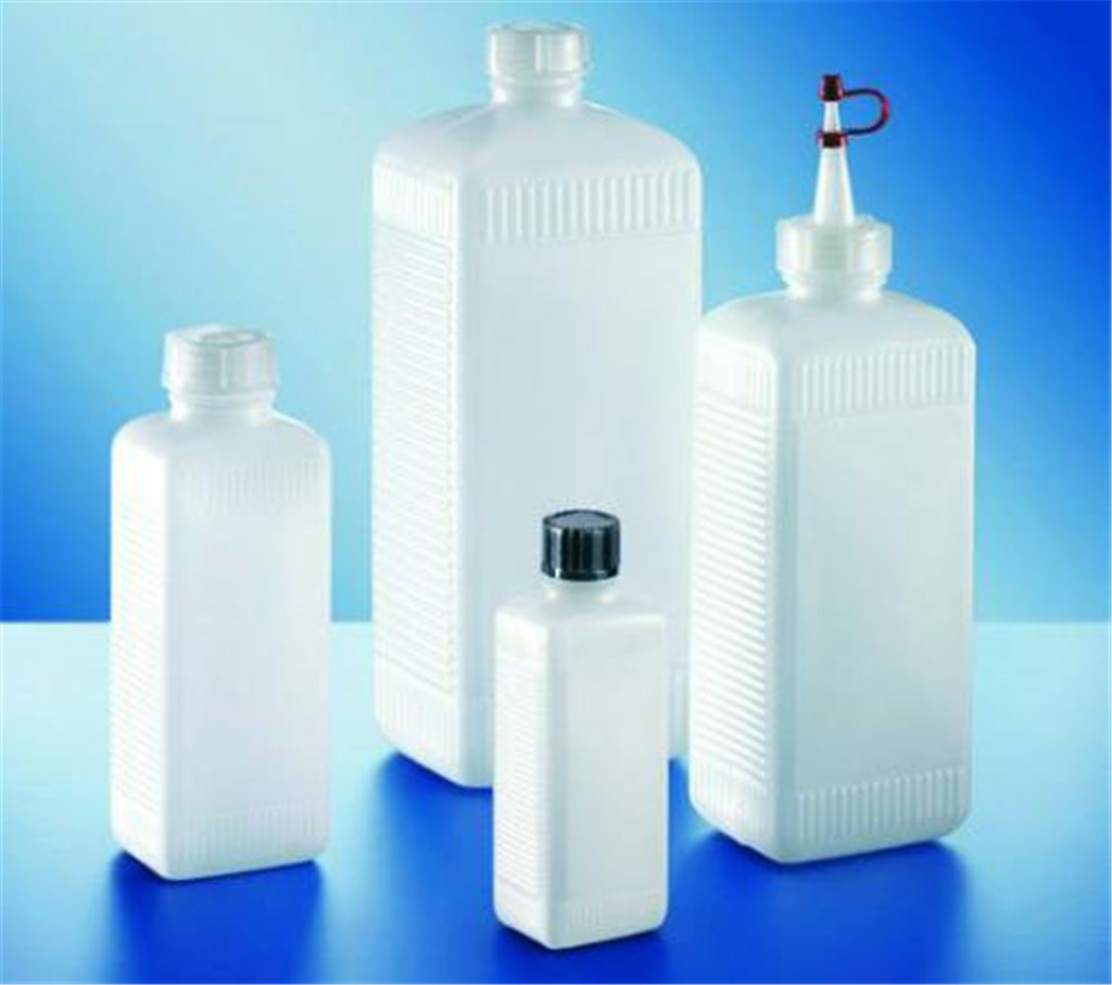 Square bottles, HDPE, natural, with LDPE screw ca