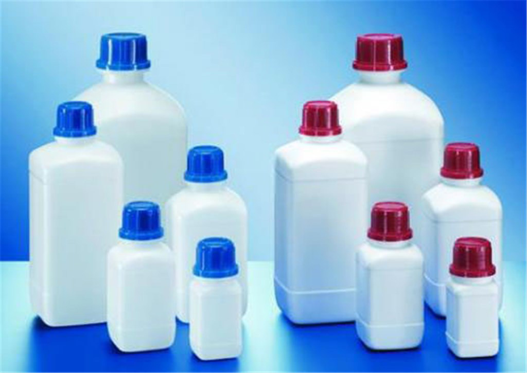 Square shape reagent bottles, HDPE, narrow neck,