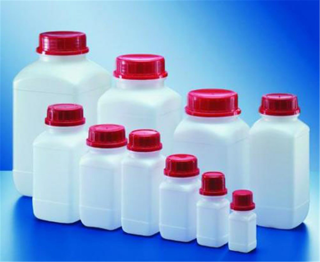 Square shape reagent bottles, HDPE, wide neck, Ca