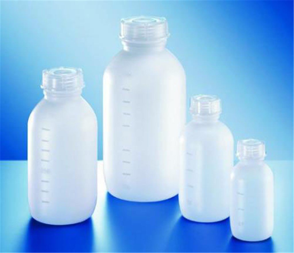Bottles, medium neck, HDPE, gr aduated, with PP ca