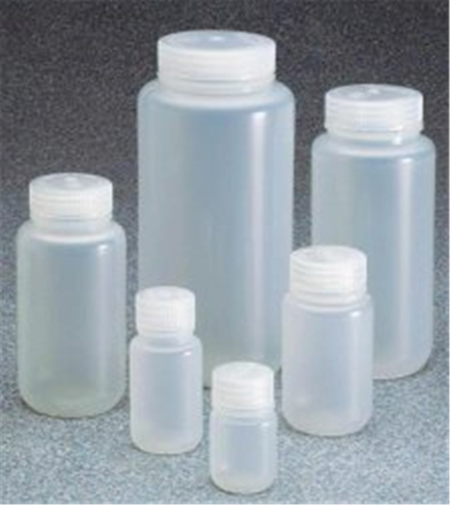 Wide neck bottles,PP,with screw cap,cap. 125 ml