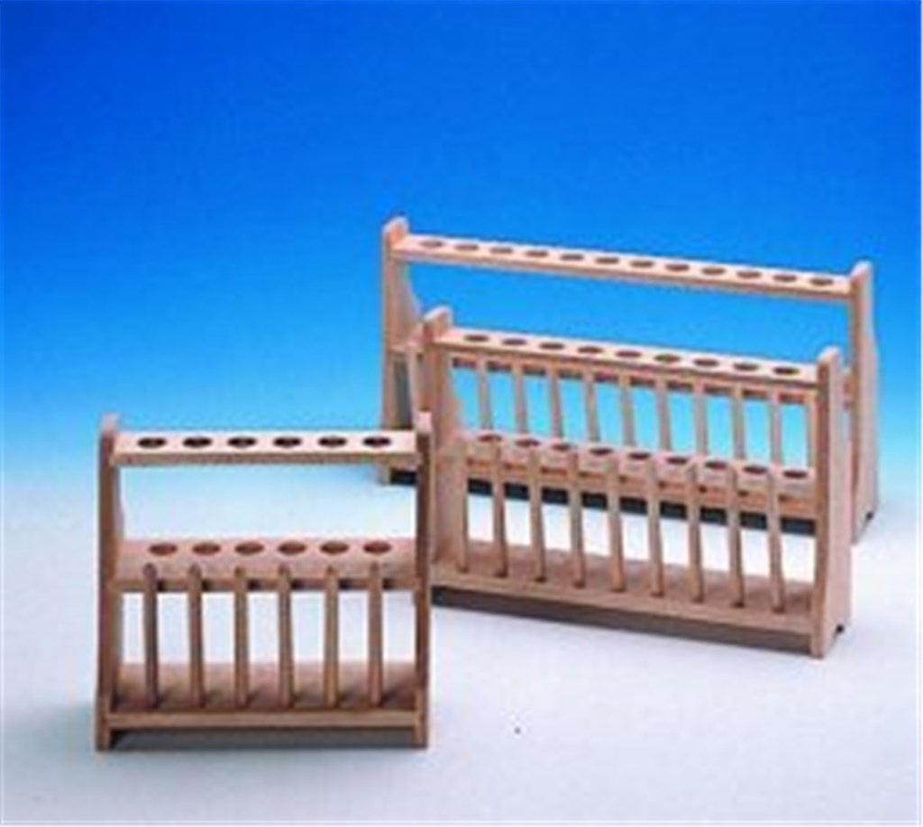 Test tube stands, wooden, two- tier, Array 2 x 12