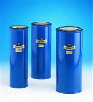 Dewar flasks, cylindrical, met al casing with silv