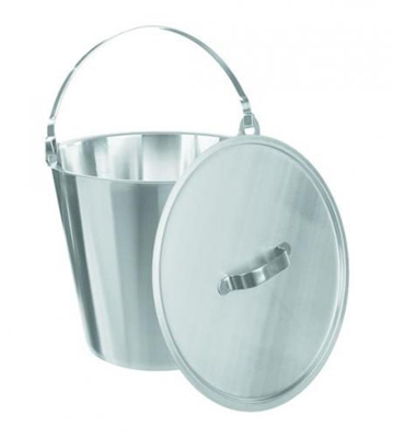 Buckets, st. steel, graduated, with handle, 15 ltr
