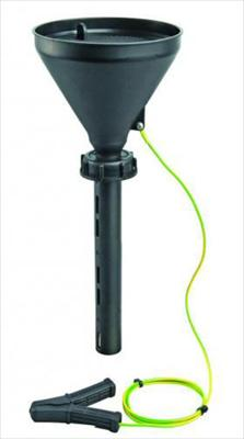 Safety funnel S65 with lid, black, PE-HD, conducti
