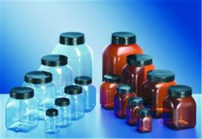 Square, wide neck containers, clear or amber rigi